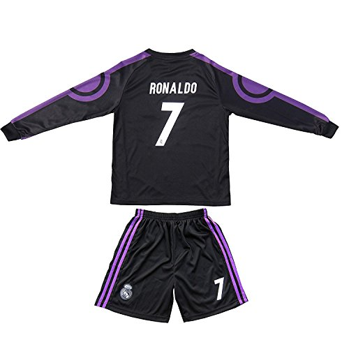 2015/2016 REAL MADRID #7 RONALDO KIDS AWAY NAVY LONG SLEEVE SOCCER JERSEY & SHORTS YOUTH SIZES (XXL (Ages 12-13))