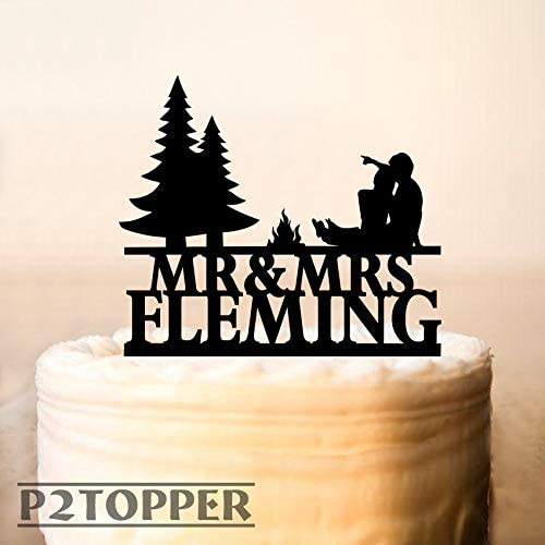 Wedding Cake Topper Camping Theme Cake Topper Camping Fire Outdoor Wedding Custom Mr And Mrs Cake Topper Couple Near The Fire 0315 Amazon Ca Home Kitchen