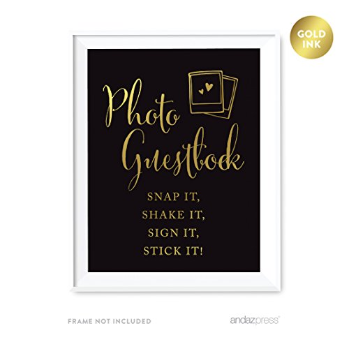 Guest Polaroid Book Photo - Andaz Press Wedding Party Signs, Black and Metallic Gold Ink, 8.5x11-inch, Photo Guestbook Snap It, Shake It, Sign It, Stick It, Polaroid Sign 1-Pack