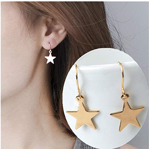(Fashion Drop Earrings Retro Five-Pointed Star Statement Earrings New Listing Dangling Earrings for Women Jewelry Gold Color)