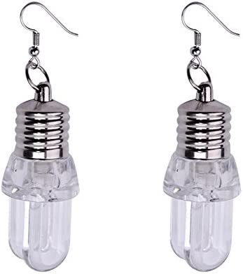A LED Blinking Bulb Dangle Earrings Fashion Women Light Up Earring Ear Hook Dangle Party Pub Christmas Halloween Earrings Jewelry
