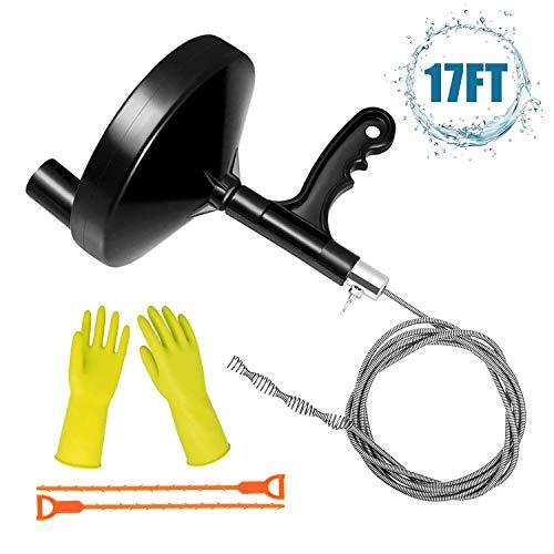 Plumbing Snake Clog Remover Tool, HENMI Sink Snake Drain 17Ft Drain Auger for Remove Sink Clog Bathtub Bathroom Sink…