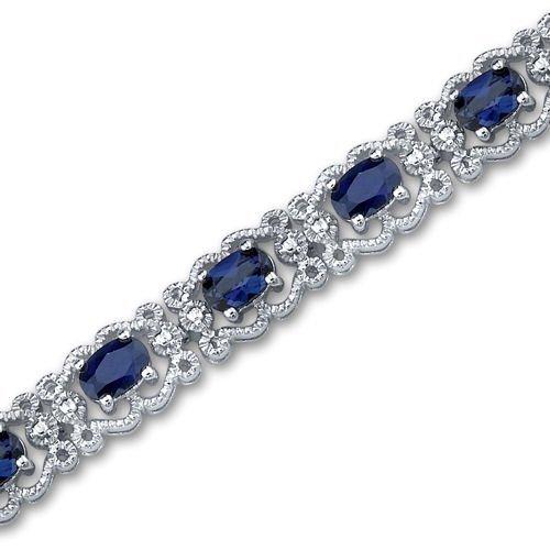 Created-Sapphire-Bracelet-Sterling-Silver-850-Carats-Vintage-Design