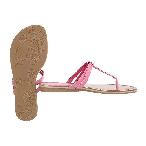 Ital-Design Zehentrenner Damen-Schuhe Peep-Toe Zehentrenner Sandalen/Sandaletten Rosa, Gr 36, N1132-5-