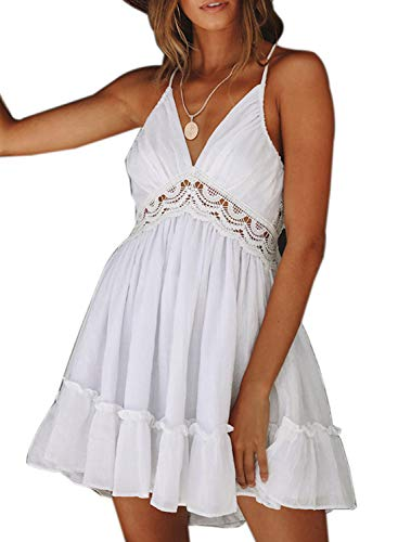 Dokotoo Womens Fashion 2019 Summer Solid Spaghetti Straps V Neck Sleeveless Embroidered Lacing Mini Swing A Line Pleated Skater Short Dresses Party Club White Small ()
