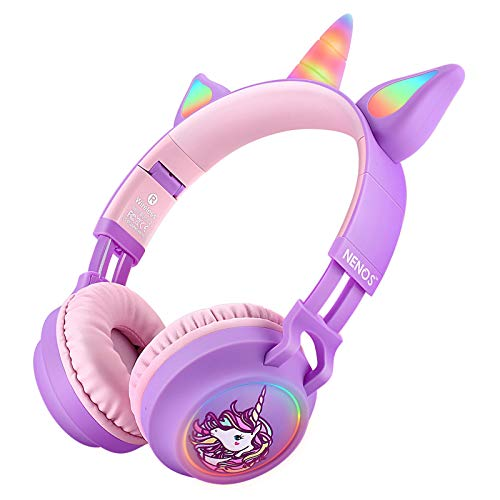 Nenos Bluetooth Kids Headphones Wireless Kids Headphones 93dB Limited Volume Wireless Headphones for Kids (Pink Cat Ear)