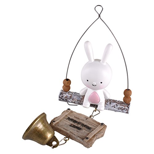 eZAKKA Cartoon Fox and Rabbit Creative Wind Chime Bell Hanging Ornament for Outdoor Car Home Gifts Crafts Decoration (Rabbit)