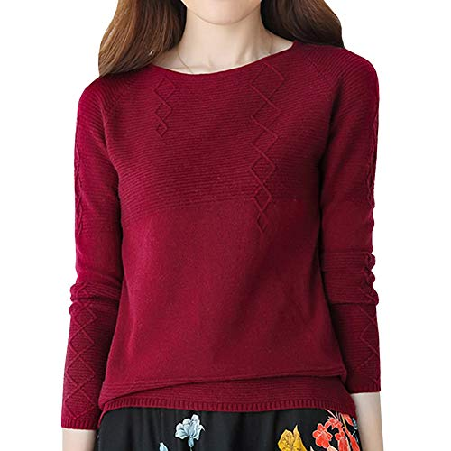 DISSA F5031 Women Loose Warm Sweater Round Neck Long Sleeve 100% Cashmere Pullover,Wine Red,L=US 8 ()