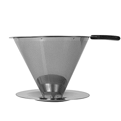 Clever Coffee Dripper - Personal, Atomic Coffee Brewer Made Of Stainless Steel - Portable, Paperless Pour Over Coffee Dripper With Stand - Metal Single Cup Coffee Maker & Brewer By Groovy Grinders