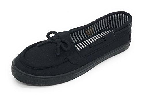 Blue Berry EASY21 Women Canvas Round Toe Slip On Flat Sneaker Oxford Boat Shoe All Black B6UZZUQJN