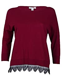 Made For Impulse Floral Lace-Trim Women's Crewneck Cotton Red XL