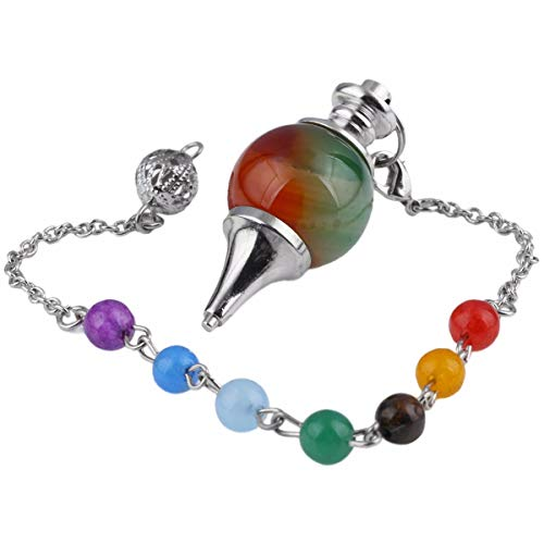 TUMBEELLUWA Healing Crystal Quartz 7 Chakra Pendulum Dowsing Gemstone Divination Reiki Stone,Agate (Best Pendulum For Divination)