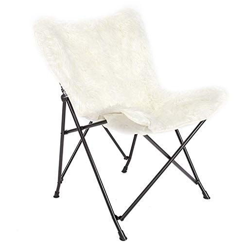 Mac Sports White Fur Chair, Folding Butterfly Frame with Removable Fuzzy Fur | Desk Chair for Women and Teen Girls, Cute Desk Chair for Room Decor, Lightweight and Foldable/Portable | White Accent