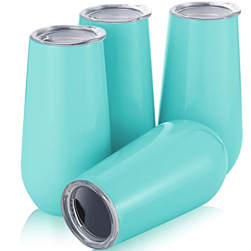 4 Pack Stemless Double-insulated Wine Tumbler Champagne Flutes, 6 OZ Reusable Cocktail Cups Unbreakable Champagne Toasting Glasses with Lids Aqua Blue
