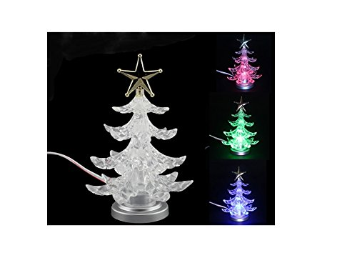 USB Christmas tree Mini Christmas Tree Small christmas tree Colorful christmas tree Mini 7 Colors Fiber Optic Seasonal Decorative Christmas Tree(Color Changing) (Plastic) Colorful Christmas Trees