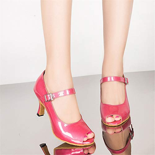 Leather Dancing Red8 Heels Latin Sandals Women's Banquet 5cm QXH Shoes Dance High aq0RwxZ