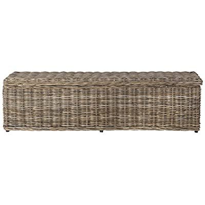 Safavieh Home Collection Caius Natural Wicker Storage Bench - This bench will add a fresh look to any room Crafted of rattan, and upholstered in cotton Perfect for a living room, bedroom, family room, den, library, or study - entryway-furniture-decor, entryway-laundry-room, benches - 41uCIvW33DL. SS400  -