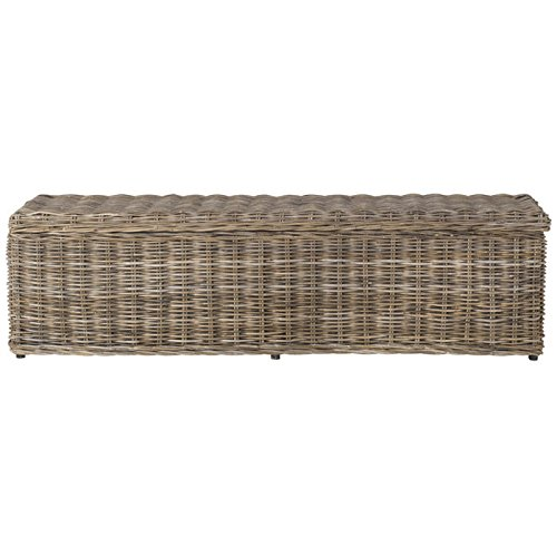 41uCIvW33DL - Safavieh Home Collection Caius Natural Wicker Storage Bench