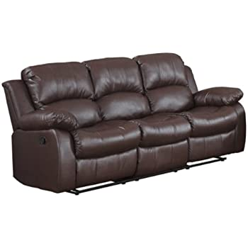 Bonded Leather Double Recliner Sofa Living Room Reclining Couch Brown Kitchen