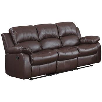 Amazon Com Bonded Leather Double Recliner Sofa Living