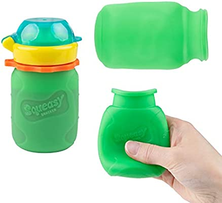 Squeasy Snacker 6oz Silicone Reusable Food Pouch Green Age 6 mos