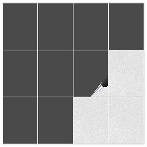 FoLIESEN 1520009 -73M Fliesenaufkleber für Küche und Bad, 10 Stück PVC 15 x 20 x 0.2 cm, dunkelgrau matt