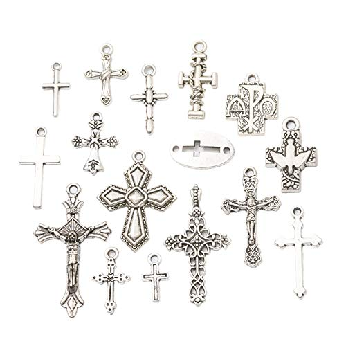- 100 Pieces Mixed Antique Silver Crosses Charms Pendants Jewelry Findings for Making Bracelet and Necklace