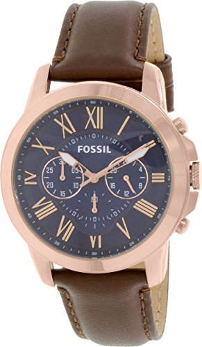 Fossil Chronograph Strap Watch - Fossil Men's 44mm Rose Goldtone Grant Watch with Brown Leather Strap