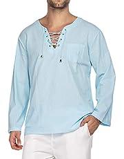 COOFANDY Mens Fashion T Shirt Cotton Tee Hippie Shirts V-Neck Long Sleeve Yoga Top for Men