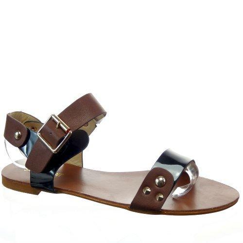 Kickly-Sandale zapatillas modo-Chanclas tobillo mujeres Clouté talón-1 CM, interior de piel sintética, color negro y dorado