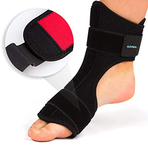(AZMED Plantar Fasciitis Night Splint & Support, Adjustable Orthotic Foot Drop Brace for Achilles Tendonitis and Heel Spur Relief, Black)