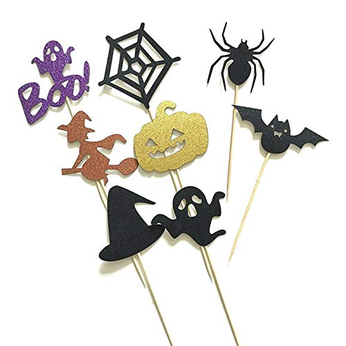 Cake Decorating Supplies - 6 8pcs Halloween Cake Pers Witch Cupcake Flags Pumpkin Ghost Cat Bats Spider Birthday Wedding Stick - Mold Icing Star Grass Camping Pans Prime Letters Rheme Coupl]()