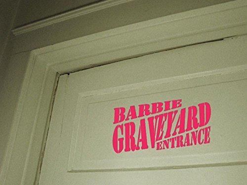 lkyvsu Wall Art Decor Decals Removable Mural Creepy scary Barbie Graveyard door sign home (Barbie Mural)