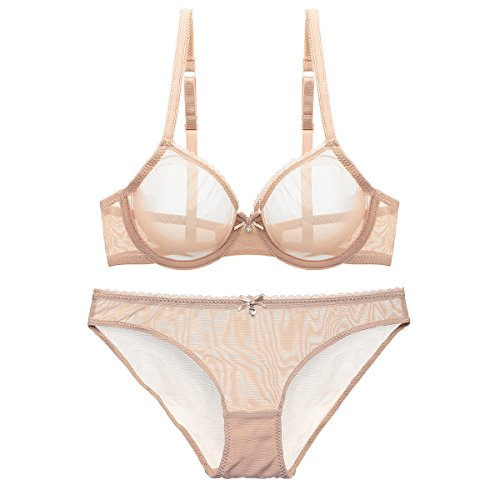 Bluewhalebaby Sexy Lingerie See-Through Transparent Breathable Lace Fine Mesh Fabric Push up Everyday Bra for Women Beige US Size 40D = Tag (Fine Lingerie)