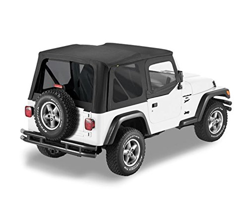 Door Install Skin - Bestop 79124-01 Black Sailcloth Replace-A-Top Soft Top with Tinted Windows and Upper Door Skins for 1997-2002 Wrangler TJ