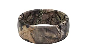 Groove Life Silicone Wedding Ring for Men - Breathable Rubber Rings for Men, Lifetime Coverage, Unique Design, Comfort Fit Mens Ring - Original Camo Mossy Oak