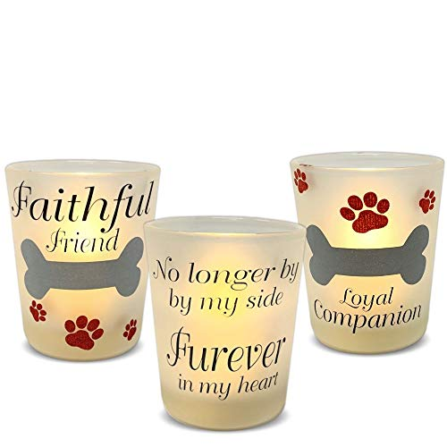 BANBERRY DESIGNS Pet Memorial LED Candle Set - 3 Votive Candle Holders with Pet Memorial Saying - No Longer by My Side Forever in My Heart- 3 LED Candles Included
