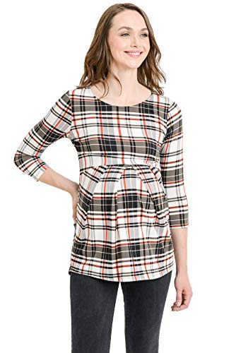 LaClef Women's Round Neck 3/4 Sleeve Front Pleat Peplum Maternity Top (Charcoal/Ivory Plaid, XL) ()