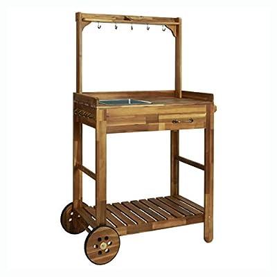 """HEATAPPLY Kitchen & Dining Cart, Garden Kitchen Trolley Solid Acacia Wood 36.2""""x17.1""""x55.7"""""""