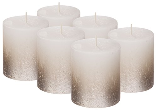 Bolsius SET OF 6 Rustic Metallic Unscented Pillar Candle With Silver Coated Bottom 80/68mm (Aprox. 3.2 X 2.75 Inces) Inces ... (White/Silver)