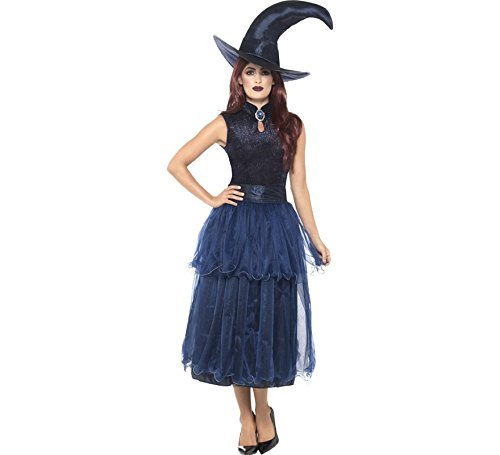 Smiffys Women's Deluxe Midnight Witch Costume, Blue, Medium ()