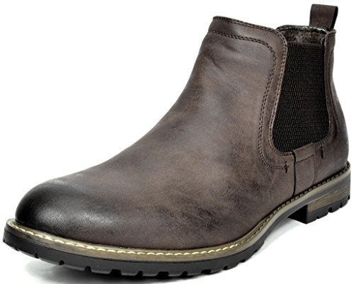 (Bruno Marc Men's Philly-2 Dark Brown Leather Lined Chelsea Dress Ankle Boots - 8.5 M US)