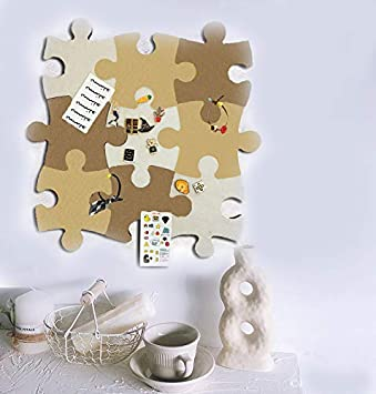 9 pcs Wall Jigsaw Puzzle Shape Pin Eva Board Self Adhesive to Keep Photos Memos Display Board Pads Pictures Drawing Goals Notes Colorful Foam Wall Decorative Felt Bulletin Board Cork Board Tiles