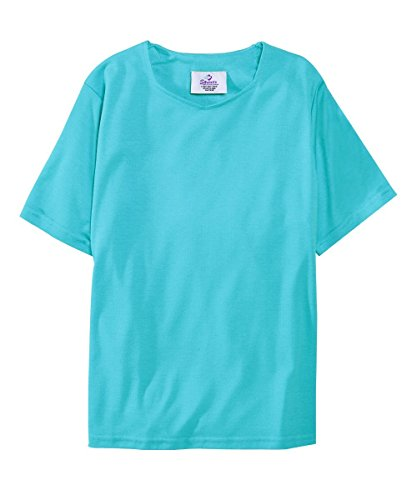 Adaptive Clothing - Silvert's Adaptive T Shirt Solid Color for Women - Home Care Apparel - Back Snap Tops - Aqua MED