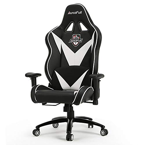 AutoFull Big and Tall Gaming Chair, Ergonomic Video Game Chair Adjustable Executive Office Computer Chair with Lumbar Support and Headrest (PU, White-9) AutoFull