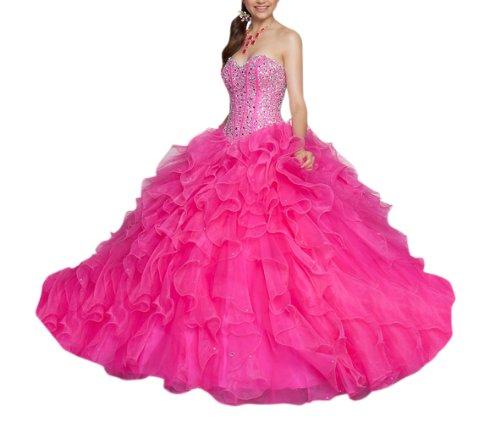 Basque Waist Dress - Dearta Women's Ball Gown Sweetheart Floor-Length Dresses US 10 Fuchsia
