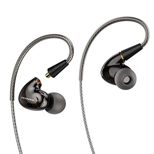 Tennmak Pro Dual Dynamic Driver Detachable Sport Earhook Detachable in Ear Earphones, MMCX Earphone with 4 Drivers (Black MIC)
