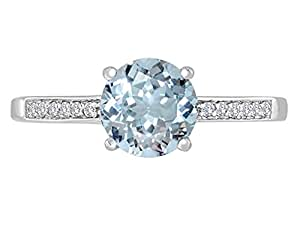 Star K Round 7mm Genuine Aquamarine Solitaire Engagement Ring 14kt Size 4
