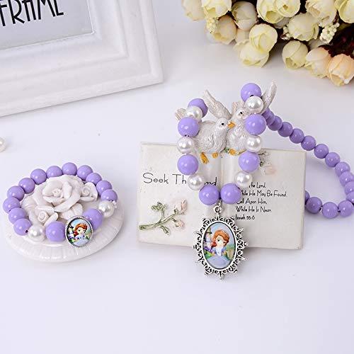 POLPEP Sophia Children's Purple Amulet Necklace Pendant Bracelet Bangle Set Girl Princess Girls Birthday Jewelry Toys (Piece Bracelet Necklace