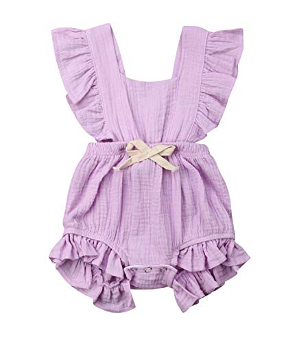 (Infant Baby Girl Ruffle Sleeve Romper One-Piece Bowknot Cotton Bodysuit Jumpsuit Outfit Clothes (12-18 Months, Purple) )